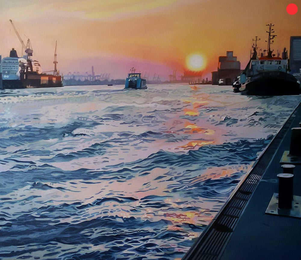 Hamburger Hafen, Oil on Canvas, 120 x 140 cm