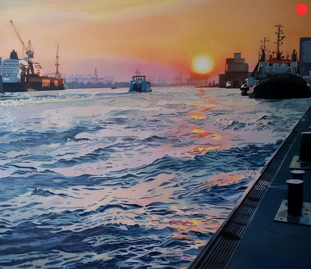 Hamburger Hafen, Oil on Canvas, 120 x 140 cm