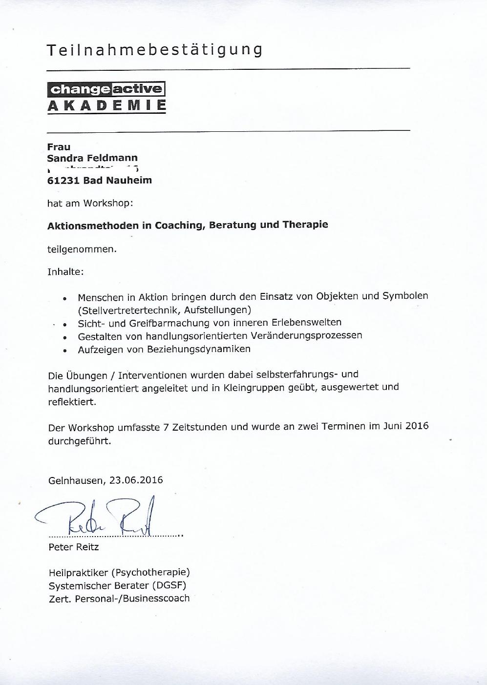 Aktionsmethoden in Coaching, Beratung und Therapie, change active Akademie