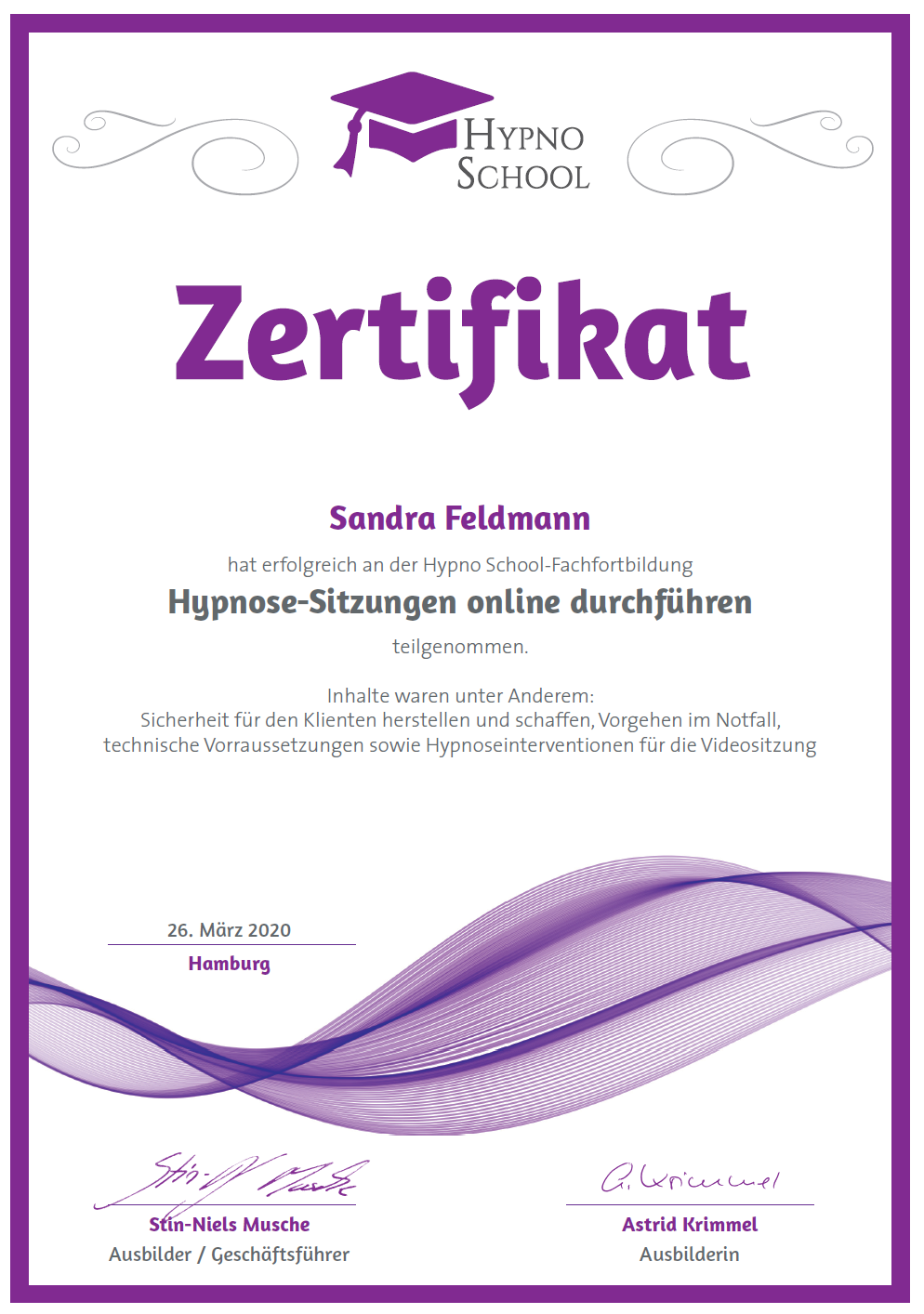 Hypnossitzungen online durchführen, HypnoSchool Hamburg