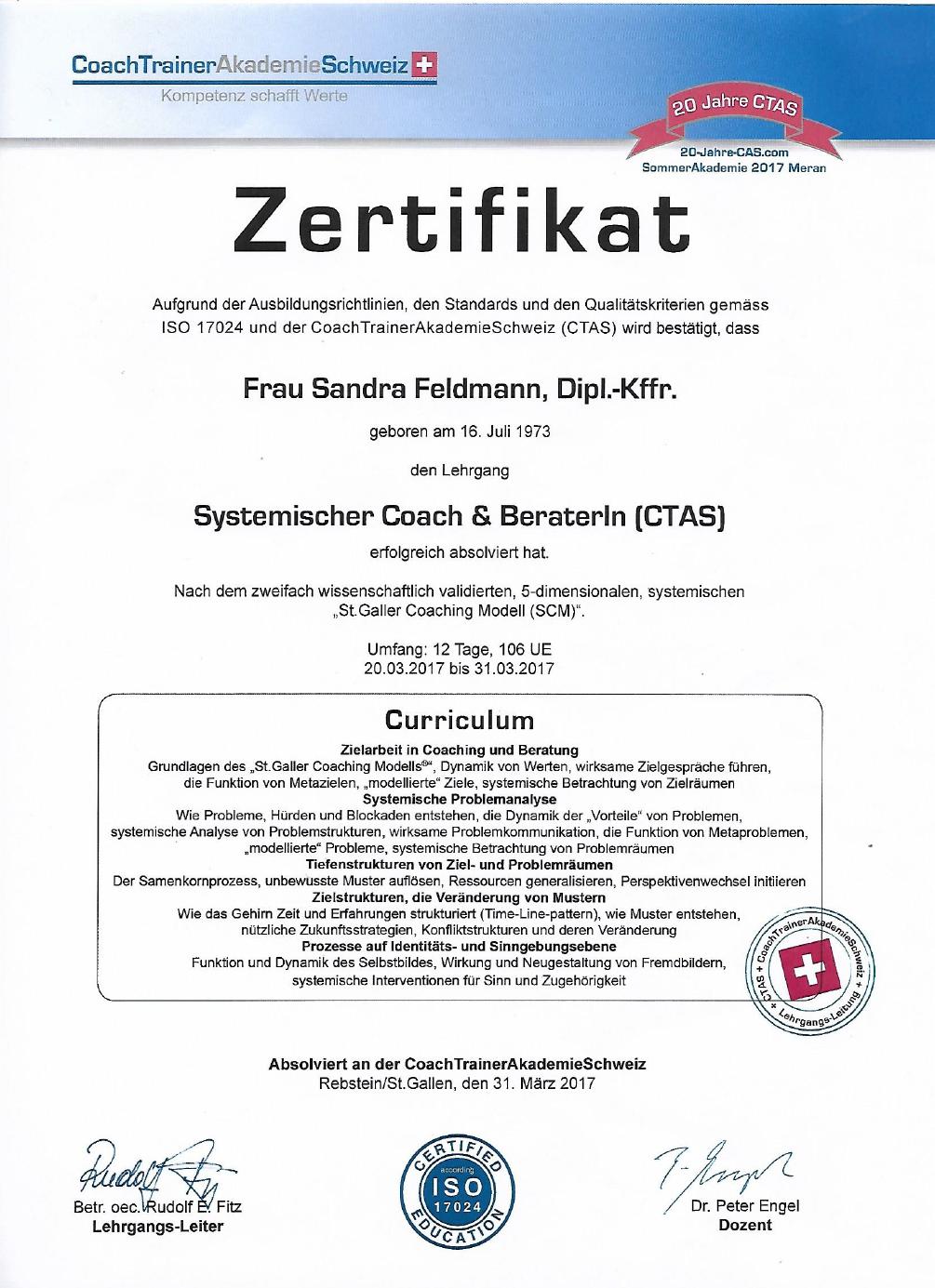systemischer Coach und Berater, CoachTrainer Akademie Schweiz
