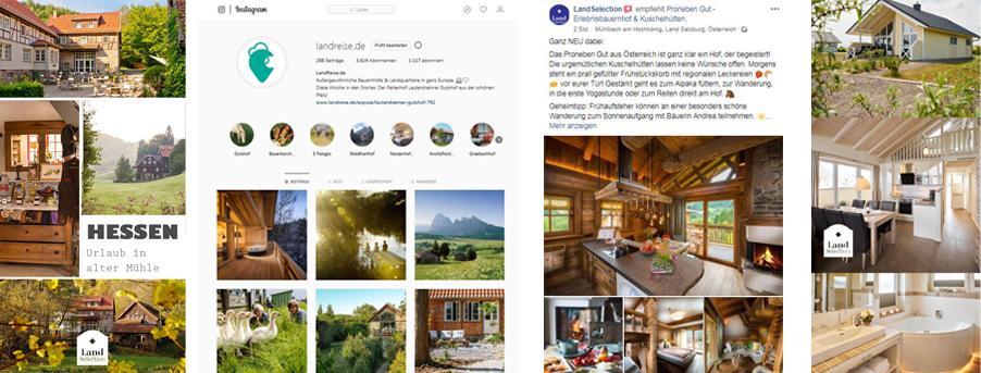 Ob Facebook, Instagram oder Pinterest. Wir bewerben LandSelection Höfe dort, wo sich die landliebende Urlauber inspirieren lassen.