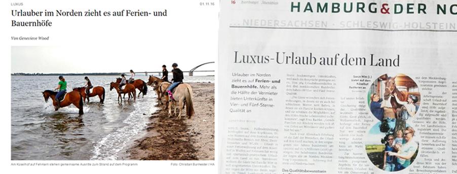 Veröffentlichung im Hamburger Abendblatt (Reichweite 527.000 Leser)