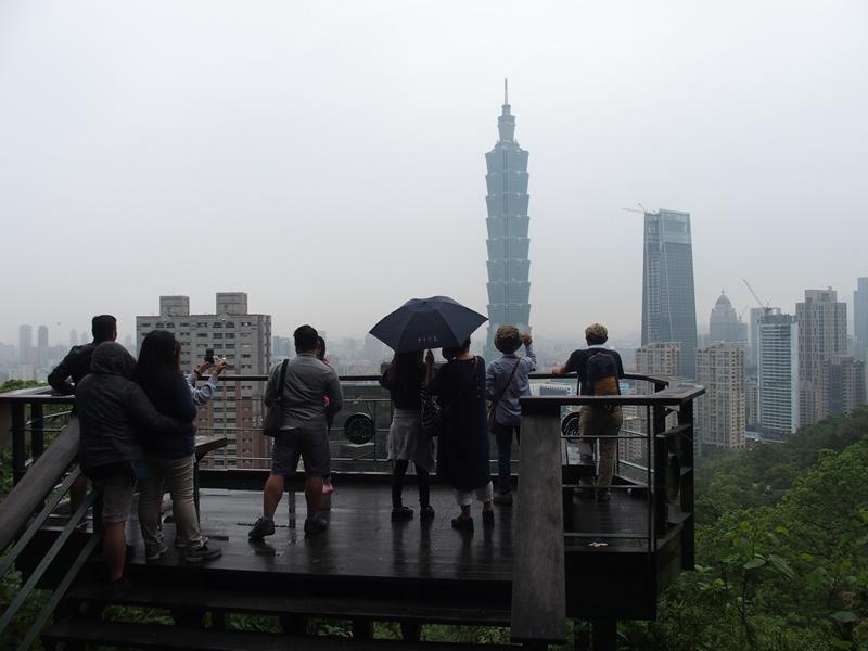 展望台から台北101を撮影中
