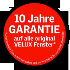 Grafik: VELUX - Siegel 10 Jahre Garantie, Limbacher Dach