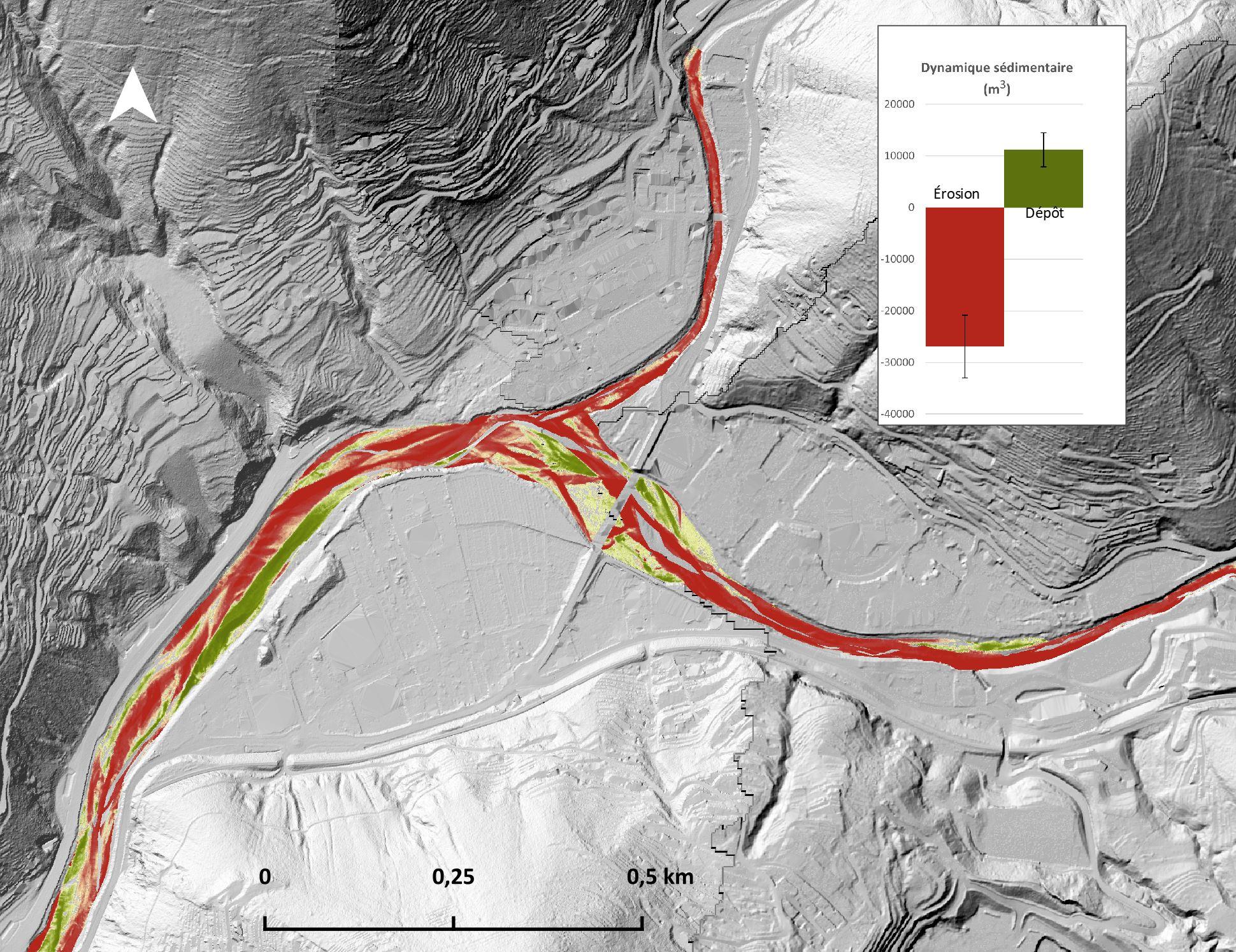 Estimation des volumes d'érosion-dépot sur le Paillon de Nice (06)