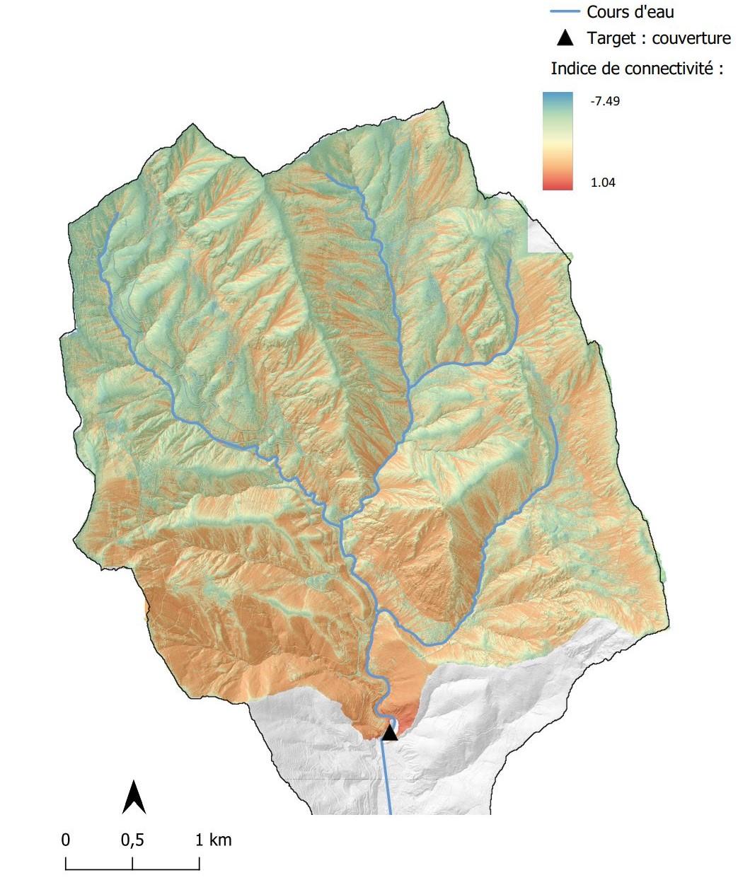 Calcul et représentation de l'indice de connectivité sur le bassin versant du Carei (06)