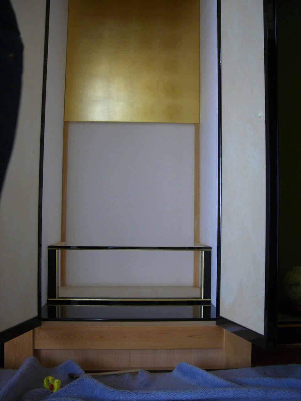 造作仏壇・引ち違い戸の鴨居・敷居の取付