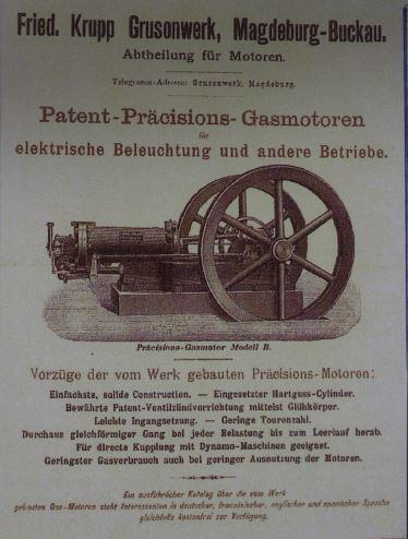 Fried. Krupp-Grusonwerk Magdeburg, Werbeanzeige, Patent-Präzisions-Gasmotoren