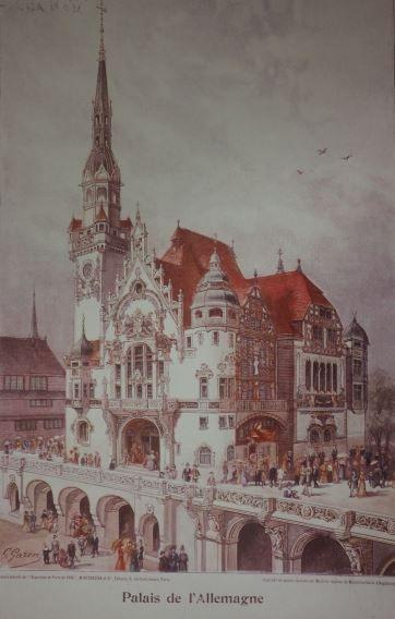 Weltausstellung Paris 1900; Deutscher Ausstellungs-Pavillon; Verbrennungsmotoren waren hier nur ausgestellt und durften nicht betrieben werden.
