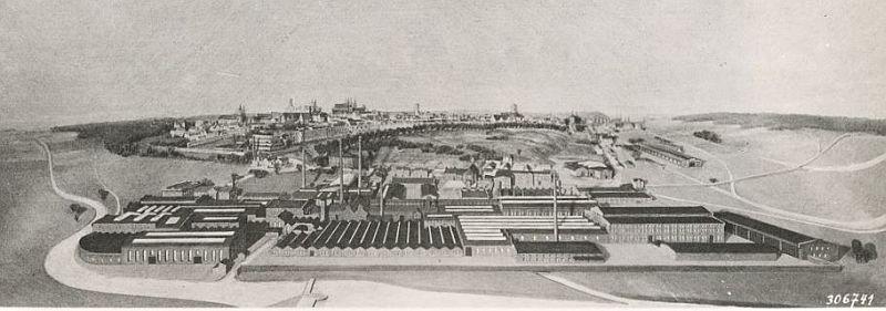 Maschinenfabrik Augsburg um 1898; Gäste von Krupp kamen häufiger zur Motorenvorführungen und Besprechungen hierher.