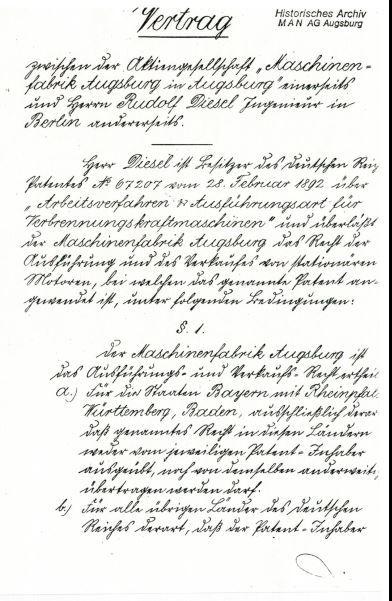 Erste Seite des 6-seitigen Vertrages zwischen der Maschinenfabrik Augsburg und Rudolf Diesel vom 21.2.1893