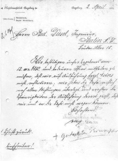 Mit diesen Zeilen vom 2. April 1892 sagte Heinrich Buz von der Maschinenfabrik Augsburg dem Erfinder Rudolf Diesel ab.