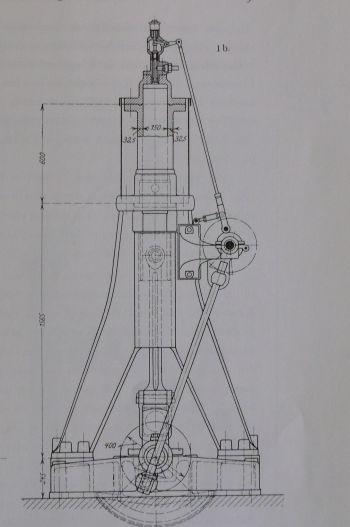 Konstruktionszeichnung des ersten Versuchs-Dieselmotors 15/40 der Maschinenfabrik Augsburg, heute MAN.