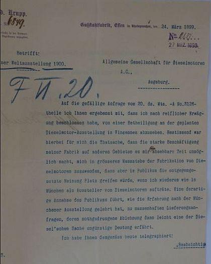 Pariser Weltausstellung 1900: Absageschreiben von Fried. Krupp, Essen.