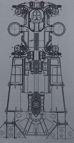 Zylinderschnitt durch den 3-Zylinder-MAN-Großdiesel-Versuchsmotor SN1200/6 mit 6.000 PSZylinderleistung, 1911