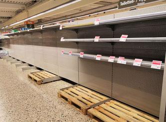 Leere Regale in Wiesbadener Supermarkt © FRANKFURTMEDIEN.net / Michael Manig