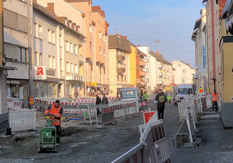 Baustelle Offenbacher Landstraße in Oberrad - Foto: © mainhattanphoto/Thomas Lichtenstein