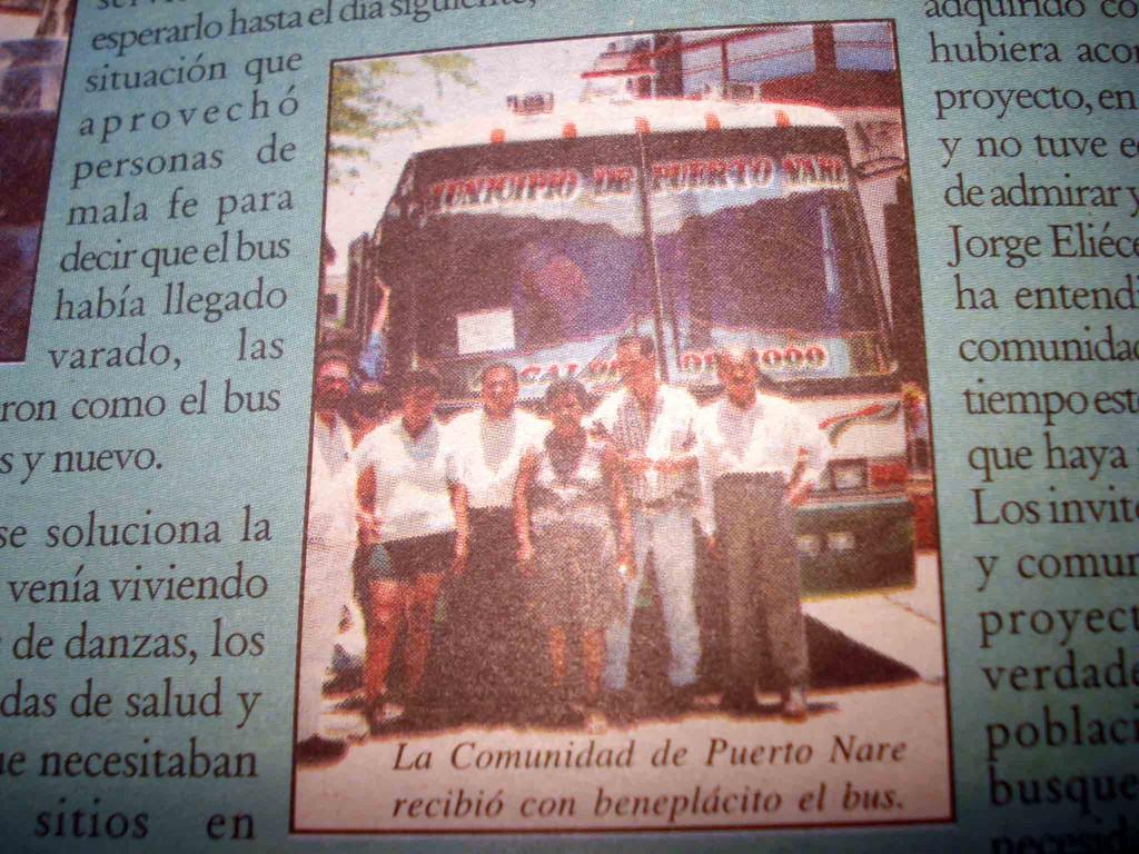 La comunidad de puerto Nare recibió con beneplácito el bus