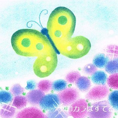蝶と紫陽花