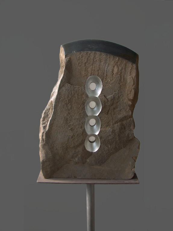 Schermo di pietra - 2008 - Marmo nero, onice e foglia d'argento