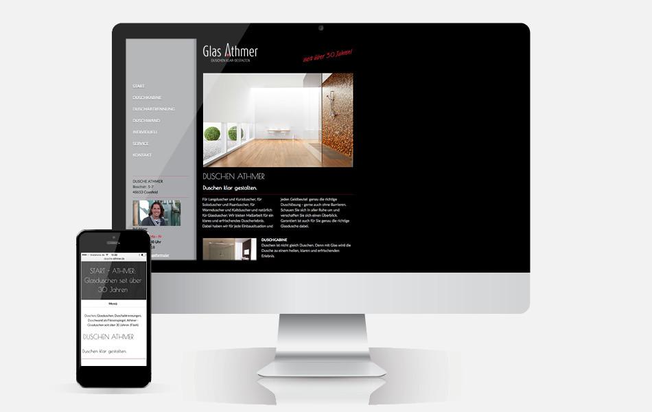 Website mit CMS und Mobilefähigkeit: www.dusche-athmer.de