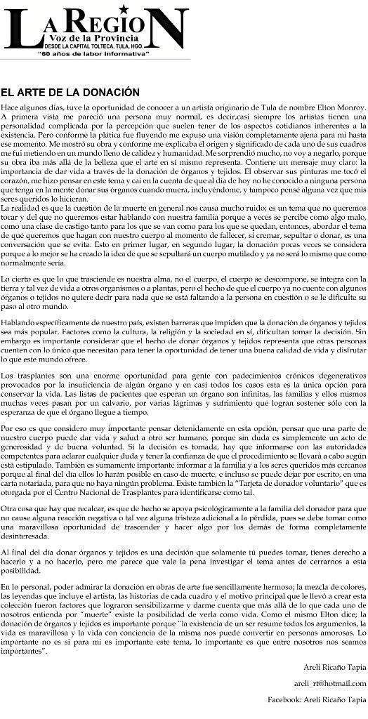 http://www.laregiontula.com.mx/2013/09/25/el-arte-de-la-donacion-33800/