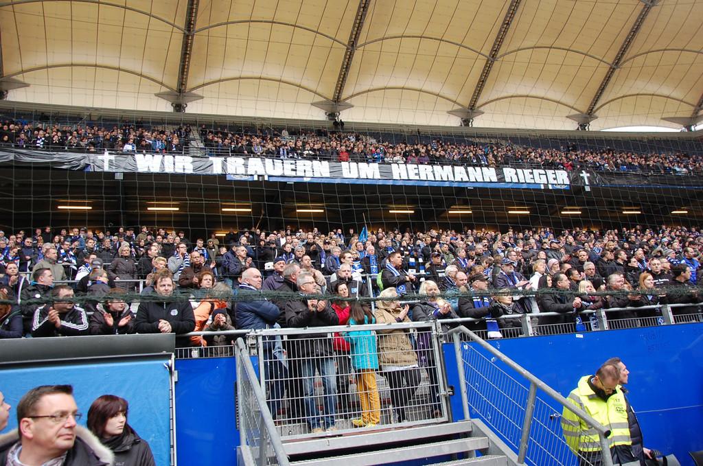 Trauerfeier von Hermann Rieger im Volksparkstadion am 02.03.2014