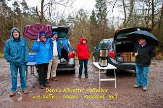 Bgerüßung durch PWV Edenkoben, März 2014 am Heldenstein (3. v. l. Bezirkswanderwart Renne)