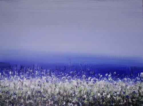 blauw uitzicht, 120 x 90 cm acryl op linnen - verkocht