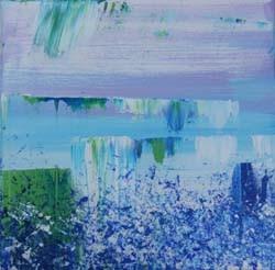 zonder titel blauw 2, 40 x 40 cm acryl op doek