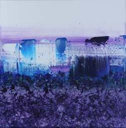 zonder titel blauw 3, 40 x 40 cm acryl op doek