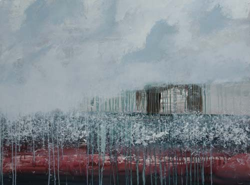 schuur in wolken, 120 x 90 cm acryl op doek - verkocht