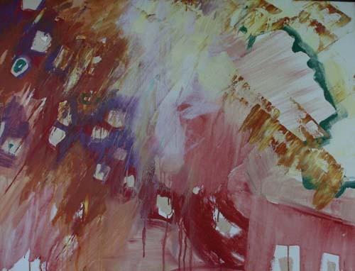 veel rood, 120 x 90 cm acryl op doek