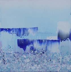 zonder titel blauw 1, 40 x 40 cm acryl op doek