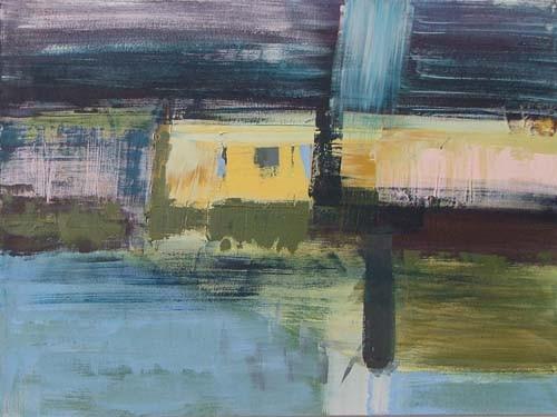 geel element in landschap, 120 x 90 cm acryl op doek