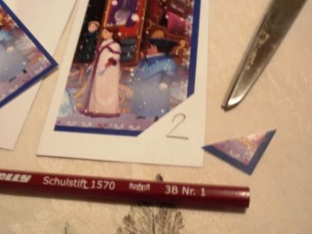 Sticker ein Eck wegschneiden um mit weichen Bleistift Nummer schreiben!