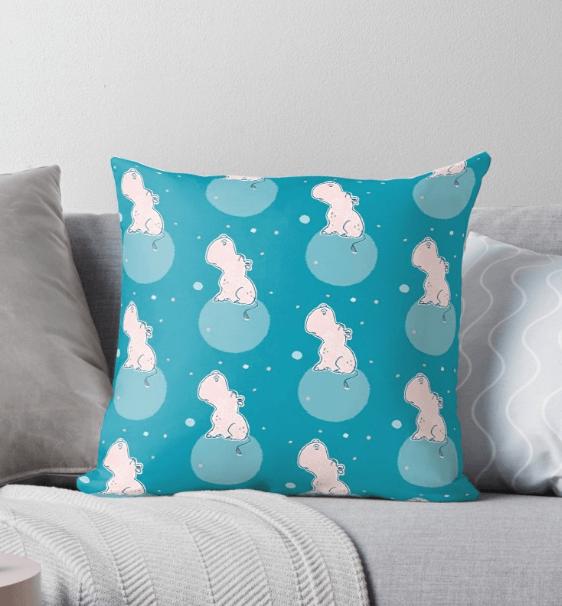 Nilpferd, Flusspferd - Kissen - Kissenbezug mit Muster bei Redbubble  – Illustration Judith Ganter - Illustriertes Kopfkino für Alltagsoptimisten