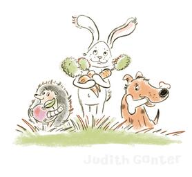 Igel, Hase & Hund auf Geschenksuche - Illustration & Text Judith Ganter  - Wir haben da was für Dich - Gutscheinbuch - Bei Rannenberg & Friends