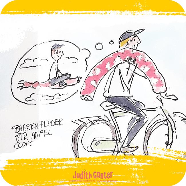 LUSTIGE ACHTSAMKEITSÜBUNGEN FÜR UNTERWEGS - achtsamkeit kreativität -  - alltag achtsamkeit - alltag ohne stress - tagebuch der achtsamkeit - Judith Ganter Zeichnungen aus Hamburg