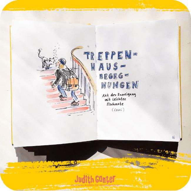 LUSTIGE ACHTSAMKEITSÜBUNGEN FÜR UNTERWEGS   - alltag bilder - alltag achtsamkeit - alltag ohne stress - tagebuch der achtsamkeit - Judith Ganter Illustration Hamburg - Tageszeichnungen