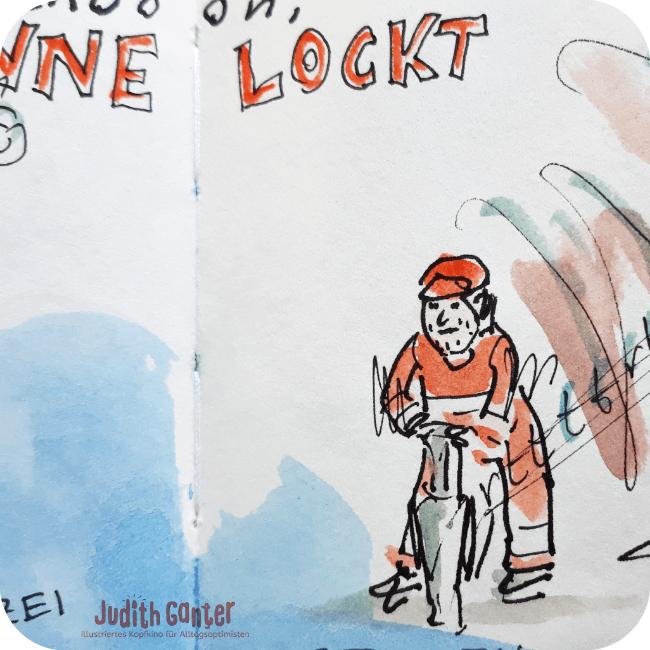 DIE SONNE LOCKT - KREATIVE BLICKWINKEL |Achtsamkeit & Humor- achtsamkeit im alltag üben - achtsamkeit im alltag übungen - kreative wahrnehmung trainieren - Judith Ganter Illustrationen aus Hamburg