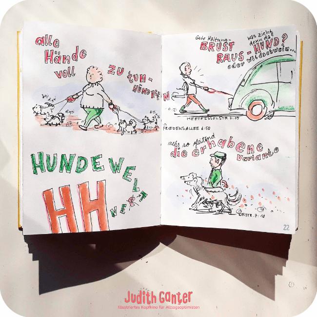 EINGESCHWORENE TEAMS - weniger stress im alltag - loslassen im alltag - weniger stress ideen -ACHTSAMKEIT IM ALLTAG ÜBEN - achtsamkeit kreativ übungen - achtsamkeitstagebuch - Judith Ganter Illustration Hamburg
