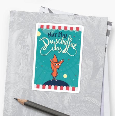 Fuchs - Nur Mut - Du schaffst das! - Sticker bei Redbubble – Illustration Judith Ganter - Illustriertes Kopfkino für Alltagsoptimisten
