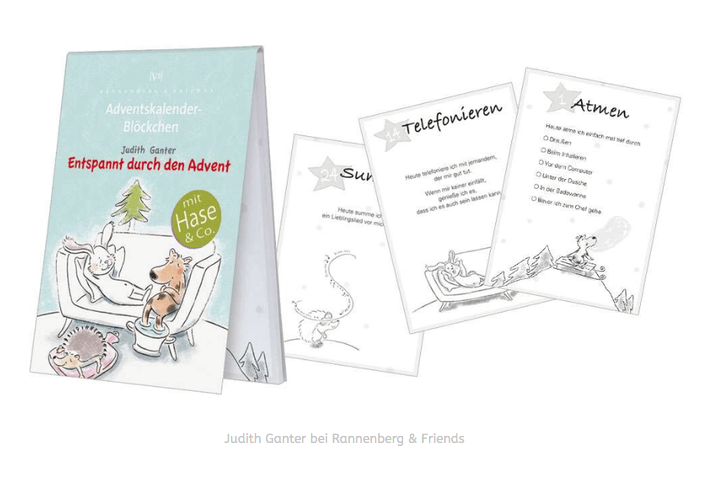Entspannt durch den Advent - HASE HUND IGEL - Illustration & Text Judith Ganter, Hamburg - Verlag Rannenberg & Friends, Geschenke Achtsamkeit, Geschenkartikel