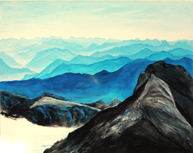 Swiss alps in acrylic on canvas 200x180cm