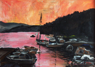 Croatian harbour in acrylic on canvas  100x80cm