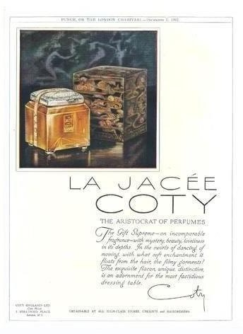 """PUBLICITE ANCIENNE VANTANT LE FLACON """"LA  JACEE"""" DE COTY"""
