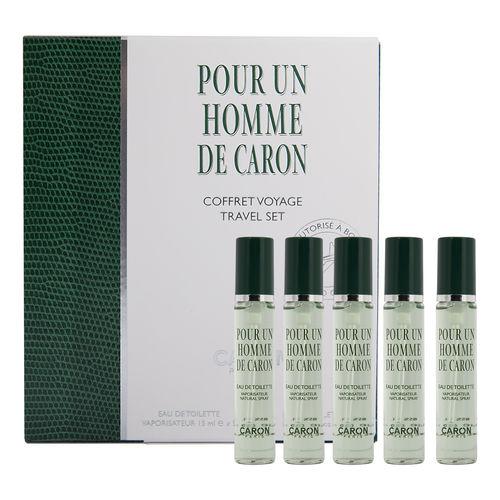COFFRET DE VOYAGE - POUR UN HOMME DE CARON COMPORTANT 5 VAPORISATEUR EAU DE TOILETTE