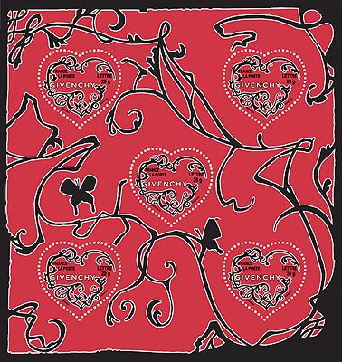 GIVENCHY - FEUILLE DE TIMBRES SORTIE POUR LA ST-VALENTIN 2007